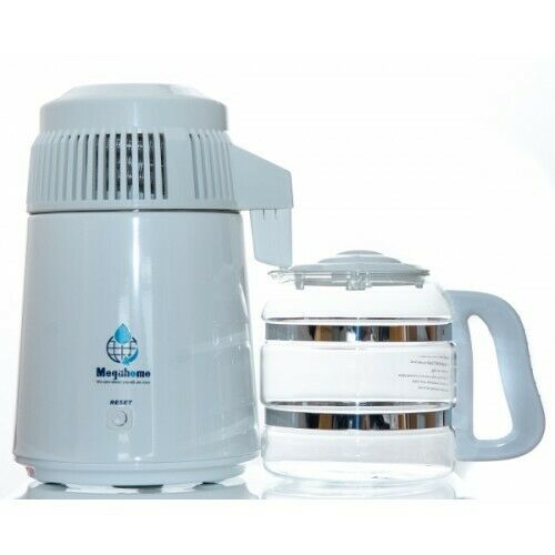 Megahome Profesional White Water Distiller With Glass Jug UK 3 Pin Plug