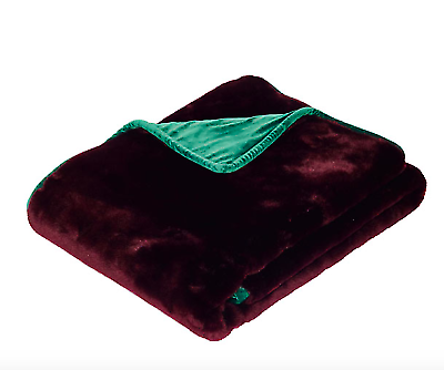 Oka Faux Fur Throw-Purple Panther/ Forest Green 150 x 200cm
