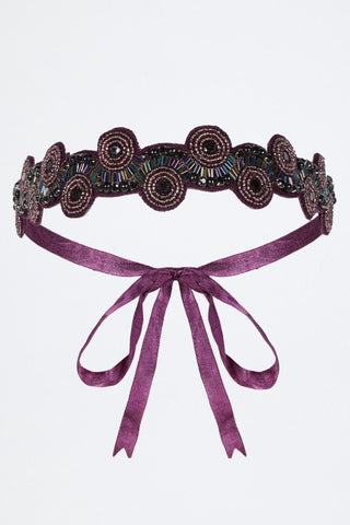 Eliza 1920s Flapper Sequin Headband In Plum