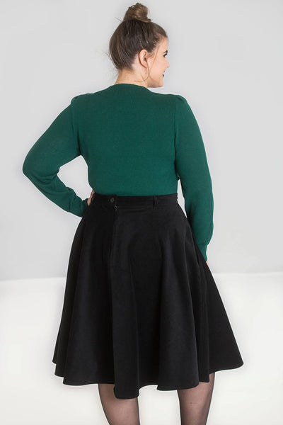 Hell Bunny Connie Long Sleeve Jumper In Dark Green