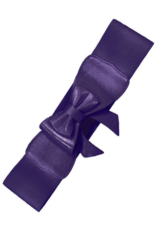 Dancing Days 50s Style Retro Elasticated Belt With Bow In Dark Purple; Dancing Days; 50s Retro Style; Elasticated Belt; Dark Purple Bow Design; Purple