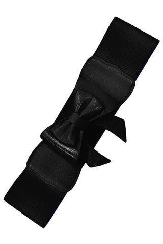 Dancing Days 50s Style Retro Elasticated Belt With Bow In Black; Dancing Days; 50s Retro Style; Elasticated Belt; Black Bow Design; Black