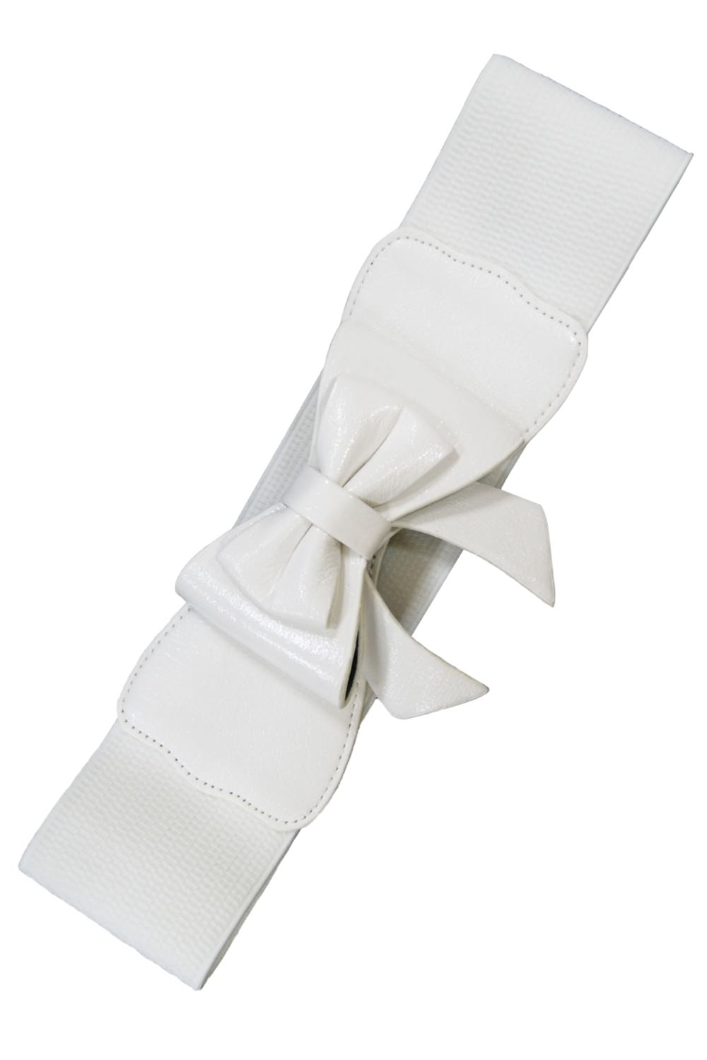 Dancing Days 50s Style Retro Elasticated Belt With Bow In White; Dancing Days; 50s Retro Style; Elasticated Belt; White Bow Design; White