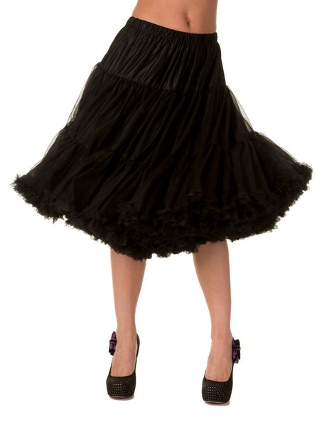 "Dancing Days Lifeforms 50s Style 25""-27"" Long Petticoat In Black; Dancing Days; Lifeforms Petticoat; 50s Style; 25""-27"" Long Petticoat; Black; Front View"