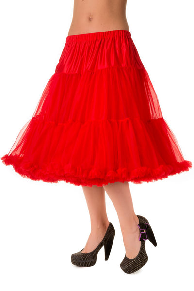 "Dancing Days Lifeforms 50s Style 25""-27"" Long Petticoat In Red; Dancing Days; Lifeforms Petticoat; 50s Style; 25""-27"" Long Petticoat; Red; 3/4 View"