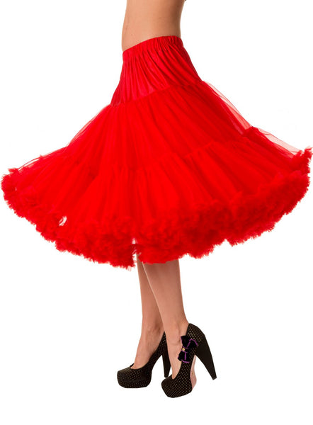 "Dancing Days Lifeforms 50s Style 25""-27"" Long Petticoat In Red; Dancing Days; Lifeforms Petticoat; 50s Style; 25""-27"" Long Petticoat; Red; Twirl Effect View"