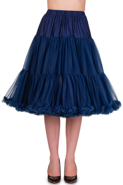 "Dancing Days Lifeforms 50s Style 25""-27"" Long Petticoat In Navy Blue; Dancing Days; Lifeforms Petticoat; 50s Style; 25""-27"" Long Petticoat; Navy Blue; Front View"