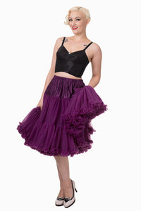 "Dancing Days Lifeforms 50s Style 25""-27"" Long Petticoat In Aubergine Purple; Dancing Days; Lifeforms Petticoat; 50s Style; 25""-27"" Long Petticoat; Aubergine Purple"