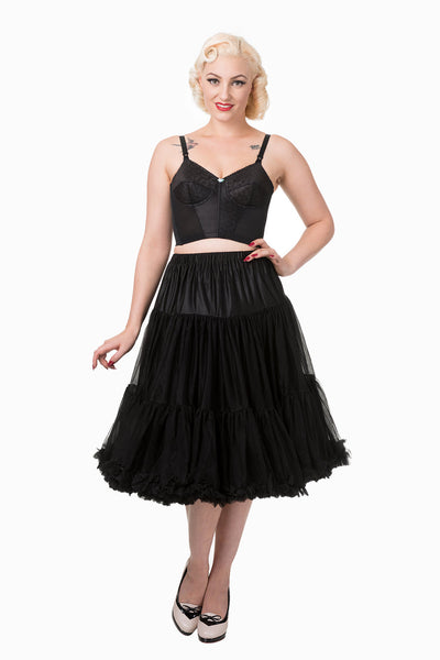 "Dancing Days Lifeforms 50s Style 25""-27"" Long Petticoat In Black; Dancing Days; Lifeforms Petticoat; 50s Style; 25""-27"" Long Petticoat; Black; Modeled View"
