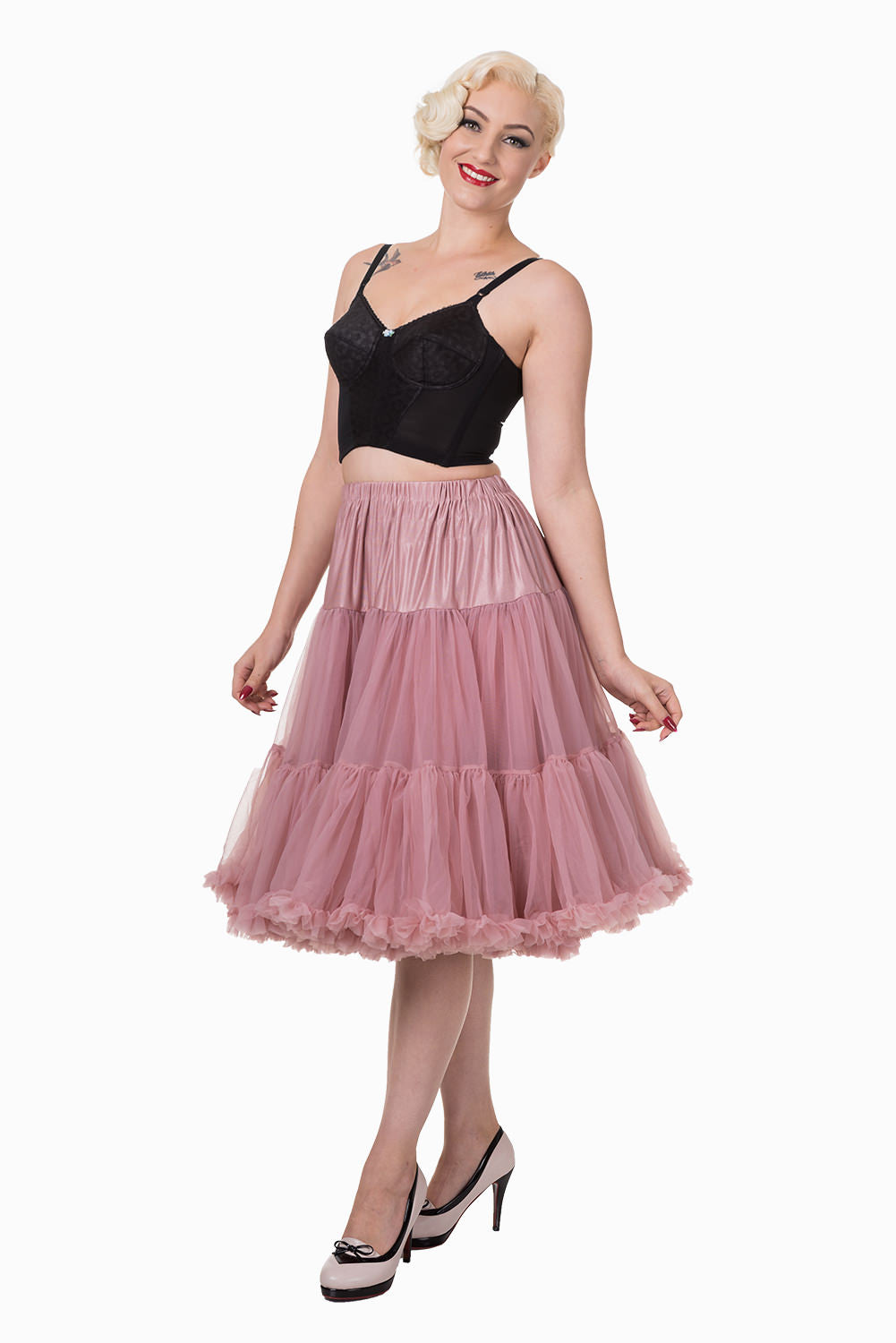 "Dancing Days Lifeforms 50s Style 25""-27"" Long Petticoat In Dusky Pink"