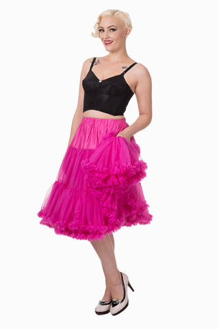 "Dancing Days Lifeforms 50s Style 25""-27"" Long Petticoat In Hot Pink"