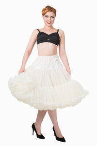 "Dancing Days Lifeforms 50s Style 25""-27"" Long Petticoat In Ivory; Dancing Days; Lifeforms Petticoat; 50s Style; 25""-27"" Long Petticoat; Ivory"