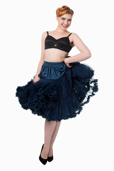 "Dancing Days Lifeforms 50s Style 25""-27"" Long Petticoat In Navy Blue; Dancing Days; Lifeforms Petticoat; 50s Style; 25""-27"" Long Petticoat; Navy Blue; Layer Effect View"