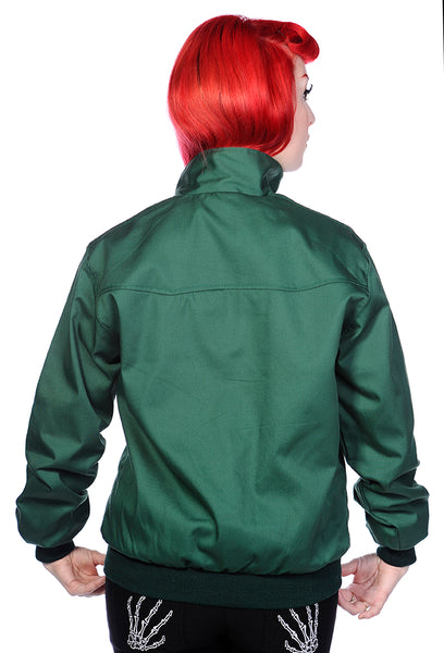 Banned Apparel Unisex Harrington 1950s Style Jacket Coat Three Colours; Unisex; Green; Back View