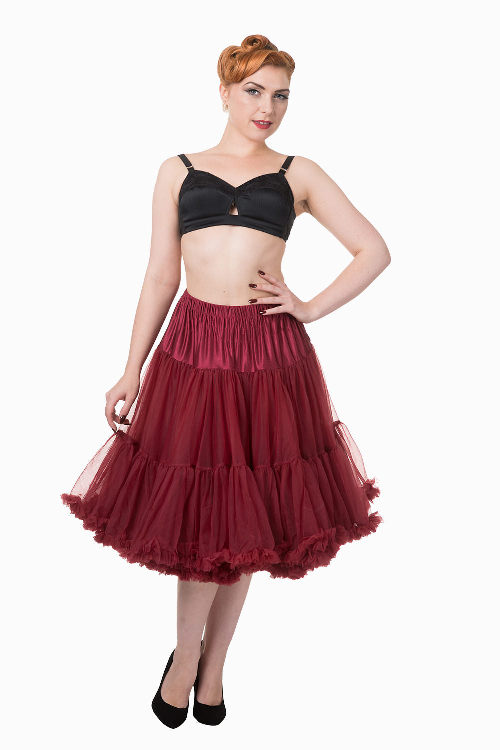 "Dancing Days Lifeforms 50s Style 25""-27"" Long Petticoat In Burgundy Red; Dancing Days; Lifeforms Petticoat; 50s Style; 25""-27"" Long Petticoat; Burgundy Red"