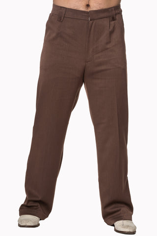 Banned Get In Line Brown 40s 50s Style Turn Up Trousers; Banned; Get In Line Trousers; Brown Turn Ups