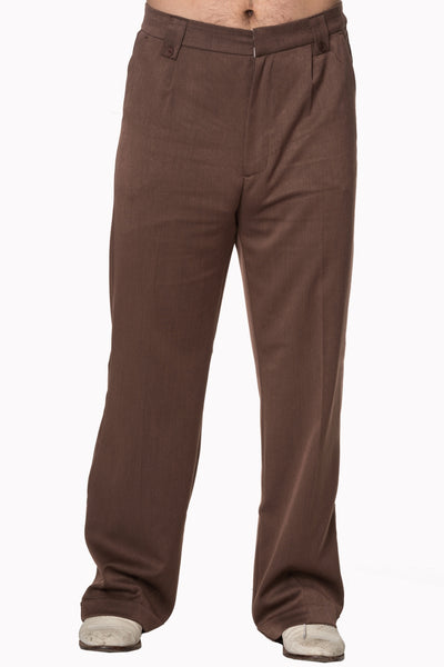 Banned Get In Line Brown 40s 50s Style Turn Up Trousers; Banned; Get In Line Trousers; Brown Turn Ups; Front View