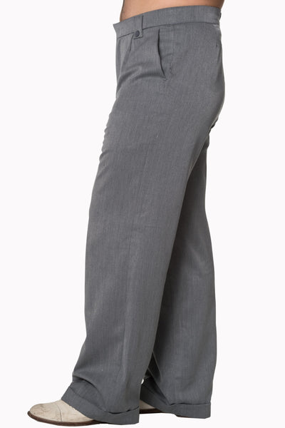 Banned Get In Line Grey 40s 50s Style Turn Up Trousers; Banned; Get In Line Trousers; Turn Up Trousers; Grey; Side View