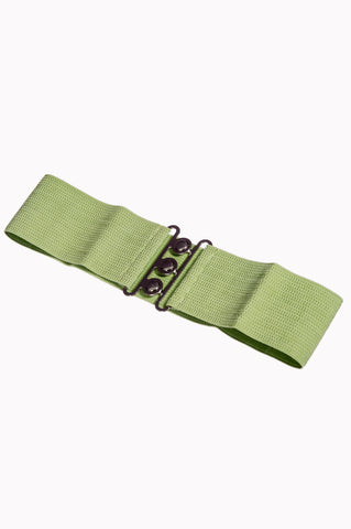 Dancing Days Retro Elasticated 1950s Waspie Belt In Olive Green; Dancing Days; Waspie Belt; Elasticated Belt; 1950s Style; Olive Green