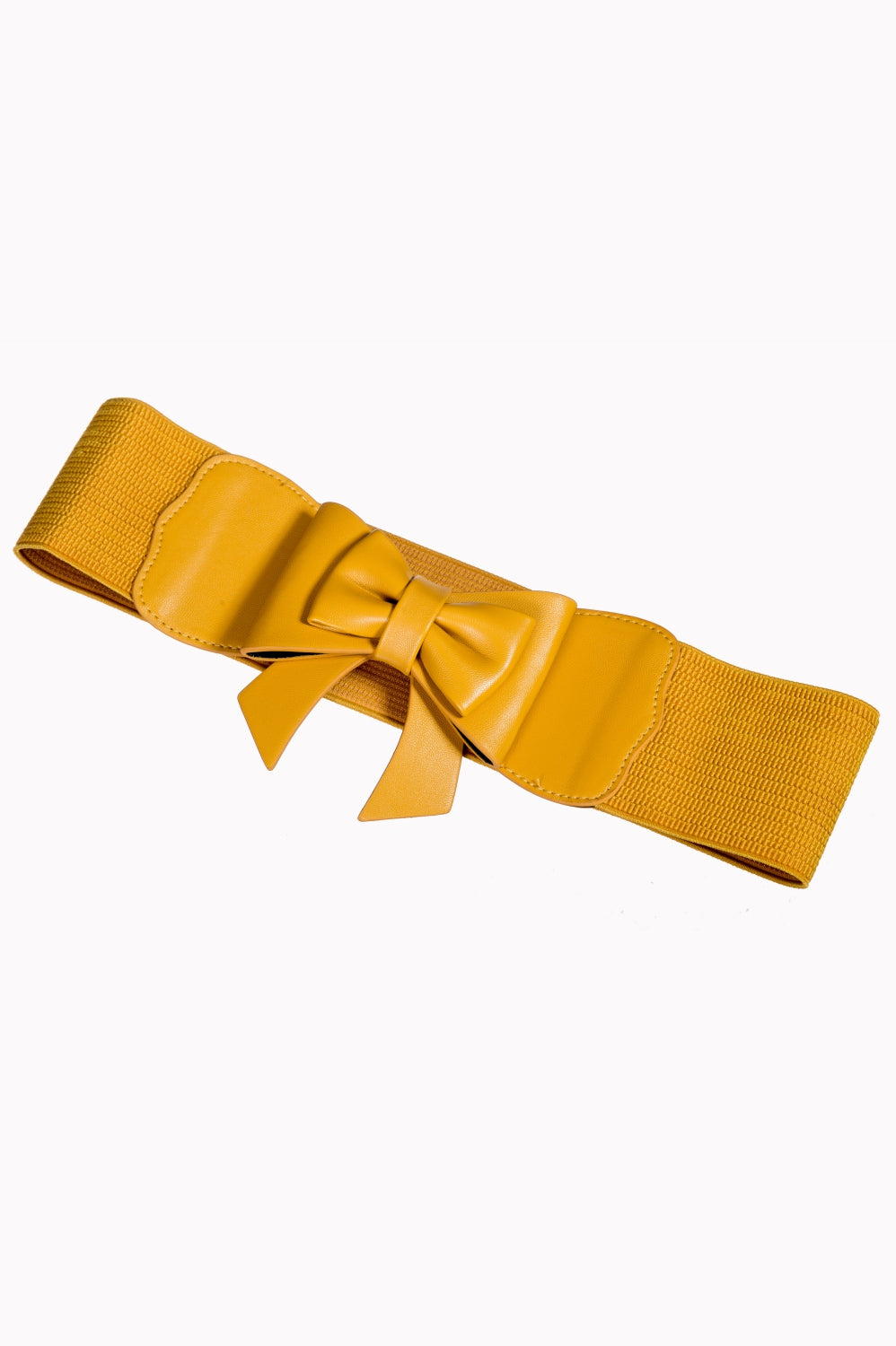 Dancing Days 50s Style Retro Elasticated Belt With Bow In Mustard Yellow; Dancing Days; 50s Retro Style; Elasticated Belt; Mustard Yellow Bow Design; Yellow