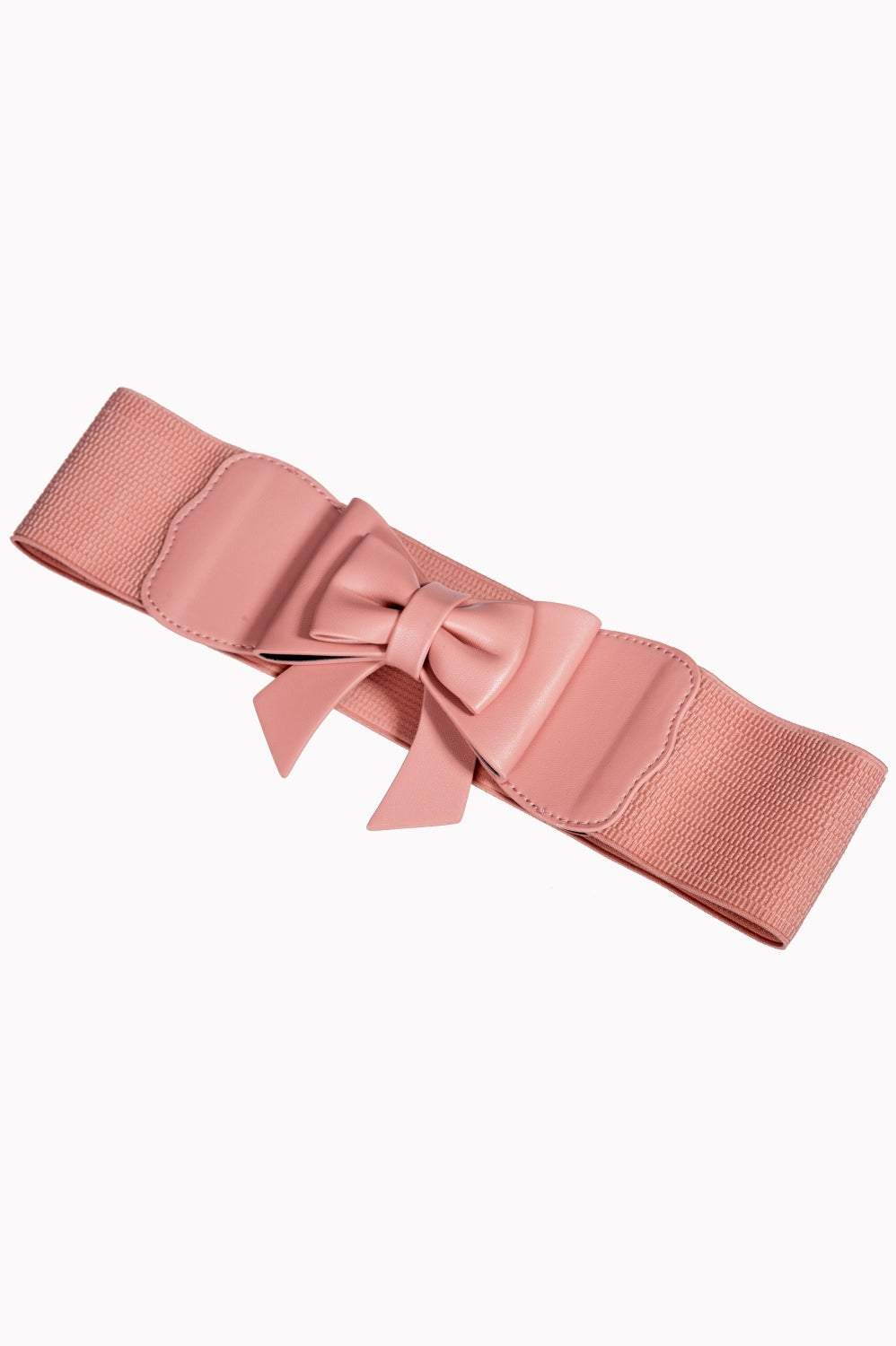 Dancing Days 50s Style Retro Elasticated Belt With Bow In Coral Pink; Dancing Days; 50s Retro Style; Elasticated Belt; Coral Pink Bow Design; Pink