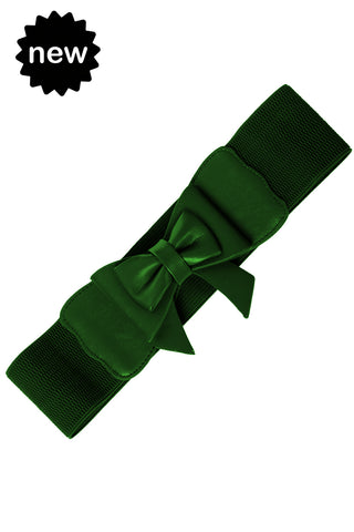 Dancing Days 50s Style Retro Elasticated Belt With Bow In Dark Green; Dancing Days; 50s Retro Style; Elasticated Belt; Dark Green Bow Design; Green