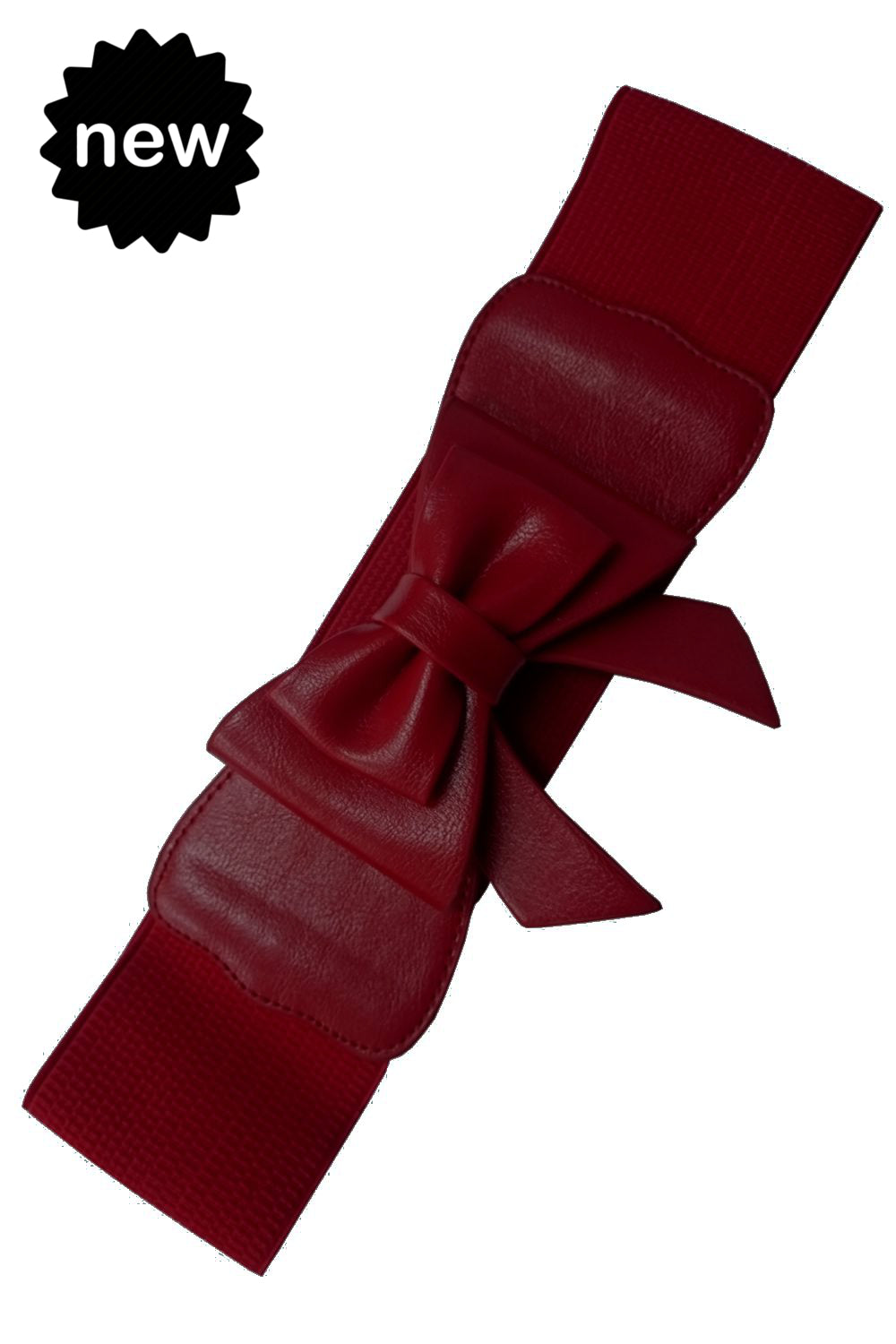 Dancing Days 50s Style Retro Elasticated Belt With Bow In Burgundy; Dancing Days; 50s Retro Style; Elasticated Belt; Burgundy Bow Design; Burgundy