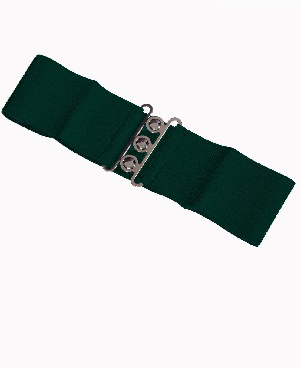 Retro Elasticated 1950's Waspie Belt In Forest Green