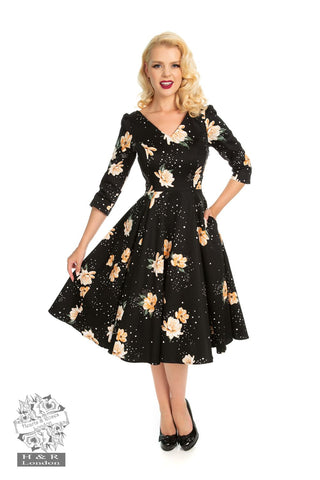 H&R London 50's Midnight Stardust 3 Quarter Sleeve Swing Dress
