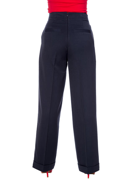 Vintage Style High Waisted Trousers In Navy Blue