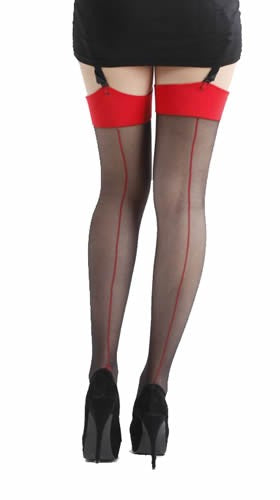 Pamela Mann Jive Seamed Black/Red Stockings; Pamela Mann; Jive Stockings; Seamed Stockings; Black & Red