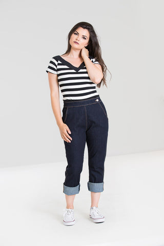 Hell Bunny Charlie Navy Denim High Waisted Capris Jeans; Hell Bunny; Charlie Jeans; Denim High Waist Capris; Navy