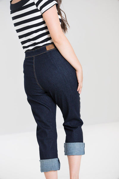 Hell Bunny Charlie Navy Denim High Waisted Capris Jeans; Hell Bunny; Charlie Jeans; Denim High Waist Capris; Navy; Back View