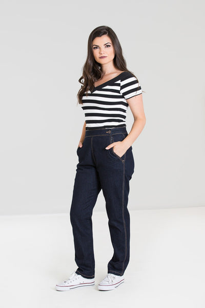 Hell Bunny Charlie Navy Denim High Waisted Capris Jeans; Hell Bunny; Charlie Jeans; Denim High Waist Capris; Navy; 3/4 View