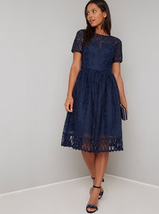 Chi Chi Sheridan Navy Blue Laser Cut Overlay Short Sleeve Dress; Chi Chi; Sheridan Dress; Laser Cut Overlay Short Sleeve Dress; Navy Blue