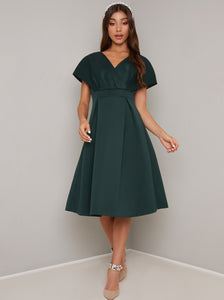 Chi Chi Edel Dark Green Kimono Sleeve Empire Line Dress; Chi Chi; Edel Kimono Dress; Kimono Sleeve Empire Line Dress; Dark Green