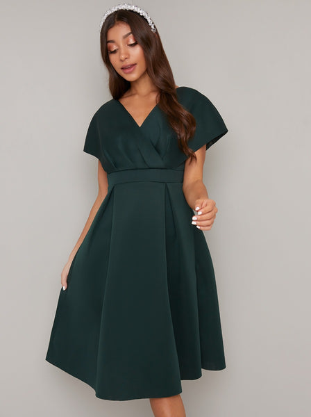 Chi Chi Edel Dark Green Kimono Sleeve Empire Line Dress; Chi Chi; Edel Kimono Dress; Kimono Sleeve Empire Line Dress; Dark Green; Front View