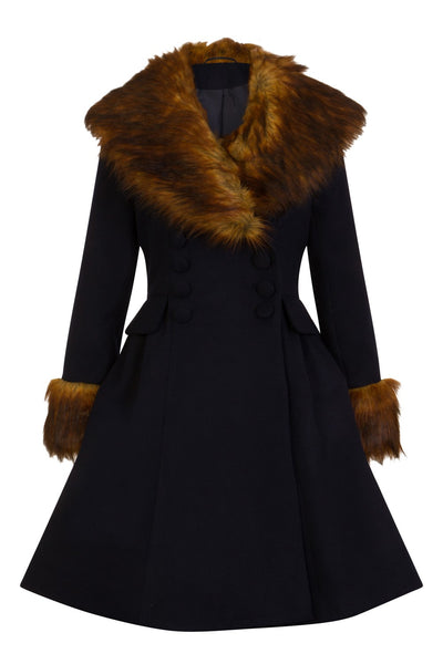 Hell Bunny Roxy Navy Blue With Fawn Faux Fur Vintage Style Coat; Hell Bunny; Roxy Coat; Vintage Style; Fawn Faux Fur Design; Navy Blue Faux Fur Coat; Navy; Front View