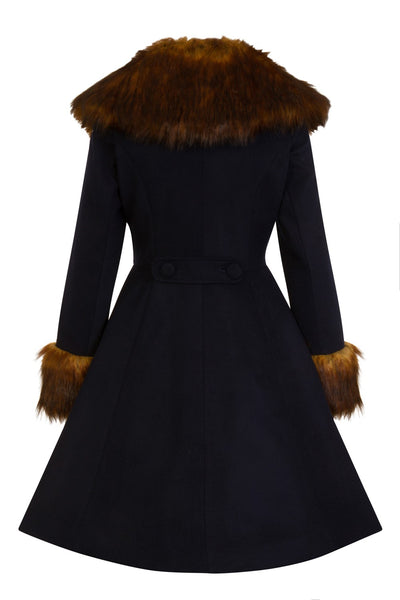 Hell Bunny Roxy Navy Blue With Fawn Faux Fur Vintage Style Coat; Hell Bunny; Roxy Coat; Vintage Style; Fawn Faux Fur Design; Navy Blue Faux Fur Coat; Navy; Back View