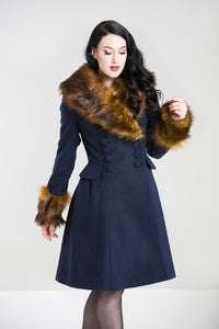 Hell Bunny Roxy Navy Blue With Fawn Faux Fur Vintage Style Coat; Hell Bunny; Roxy Coat; Vintage Style; Fawn Faux Fur Design; Navy Blue Faux Fur Coat; Navy