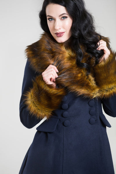 Hell Bunny Roxy Navy Blue With Fawn Faux Fur Vintage Style Coat; Hell Bunny; Roxy Coat; Vintage Style; Fawn Faux Fur Design; Navy Blue Faux Fur Coat; Navy; Fur Design View