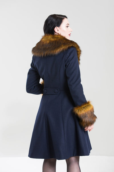 Hell Bunny Roxy Navy Blue With Fawn Faux Fur Vintage Style Coat; Hell Bunny; Roxy Coat; Vintage Style; Fawn Faux Fur Design; Navy Blue Faux Fur Coat; Navy; 3/4 View