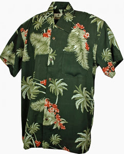 Atlanta Leaf Khaki Hawaiian Mens Short Sleeve Shirt; Karmakula; Atlanta Hawaiian Shirt; Leaf Khaki Design; Mens Wear
