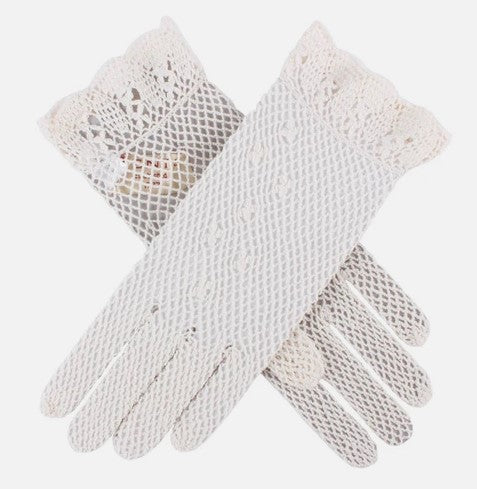 Ecru Crochet Gloves