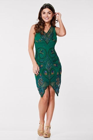 Emma 1920s Flapper Dress In Dark Green