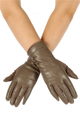 Khaki Faux Leather & Suede Gloves; Faux Leather & Suede; Khaki