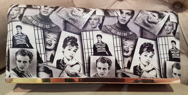 Northern Lights Exclusive Black & White 1950s 60s Music Film Icons Clutch; Northern Lights; 1950s 1960s Style; Music Film Icon Design; Exclusive Bag; Clutch Bag; Black & White