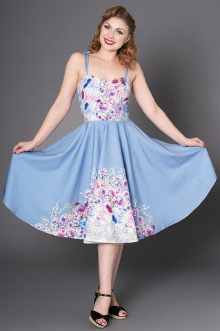 Alana 1950s Style Pastel Blue Digital Floral Print Full Circle Swing Dress; Sheen; Alana 1950s Dress; Blue Floral Print; Full Circle Swing Dress