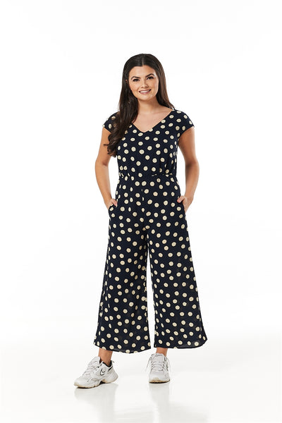 Timeless Corinna Navy Spotty V Neck Wide Cropped Leg Jumpsuit