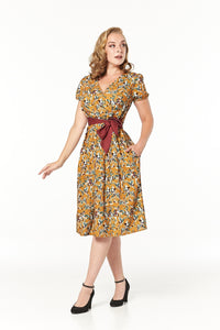Libby 1940's Style Tea Dress In Autumnal Caramel Brown With Short Sleeves